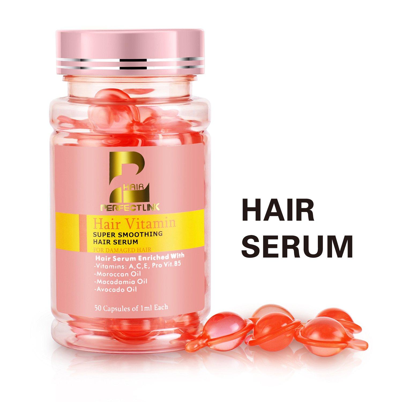 Hair Oil, Hair Treatment for Damaged Hair, Hair Serum with Argan Oil, Macadamia and Avocado Oils, Vit A, C, E, Pro-Vit.B5, 50 Capsules, Perfect Link Hair Vitamins(Pink Capsules)