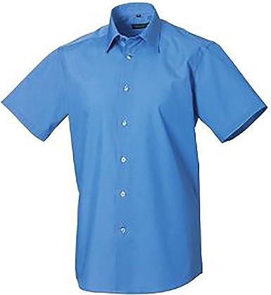 Russel Collection - Camisa de manga corta de popelina d poli-algodón Cuidado facil Modelo Tailored Poplin hombre caballero - Trabajo/Boda/Fiesta