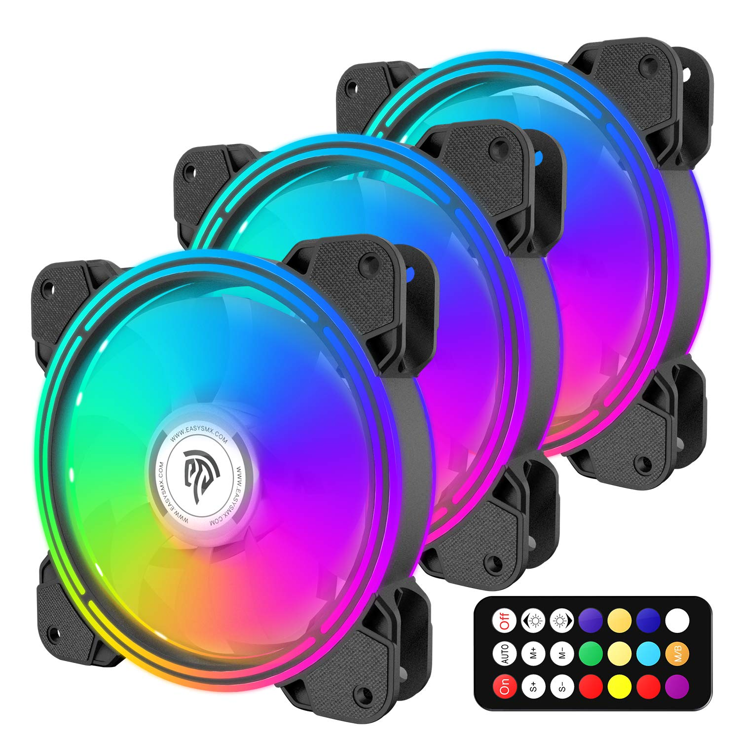 EasySMX RGB Case Fans, 3 Pack 120mm Quiet Computer Cooling PC Fans, PWM Control for Computer Case, 5V ARGB Addressable Motherboard SYNC Controller, Colorful Cooler Speed Adjustable Remote Control