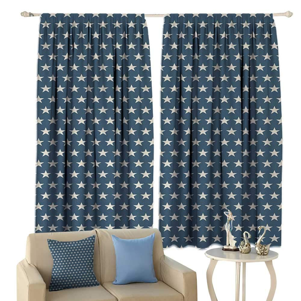 HoBeauty Star, Thermal Insulating Blackout Curtain, Patriotic Star of The American Flag Festive Independence Themed Symbols of Freedom, Blackout Draperies for Bedroom,(W84 x L72 Inch, Navy Blue Tan