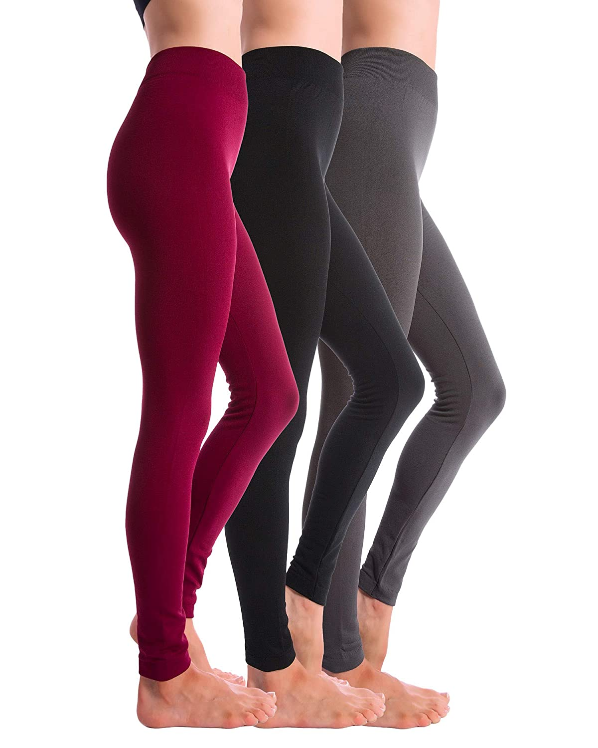 Black Grey Burgundy Homma 3Pack Fleece Lined Thick Brushed Leggings Thights