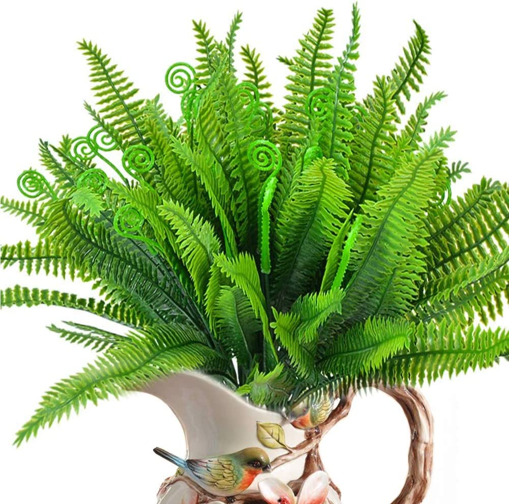 ELINSON 8PCS Artificial Fern Plants Fake Boston Fern Bushes Faux UV Resistant Greenery Shrubs Indoor Outdoor Hanging Planter Home Kitchen Office Wedding Garden Décor (Boston Fern/8pcs)