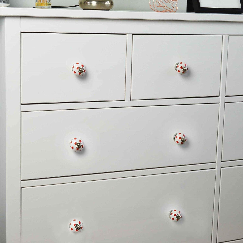 Nicola Spring Poign/ées en c/éramique Lot de 9 pour Placard//tiroir Design /à Pois