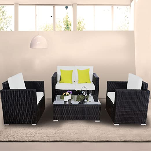 Goplus 4 Pc Outdoor Rattan Sofa Wicker Sectional Garden Patio Furniture Set W/cushions (black)
