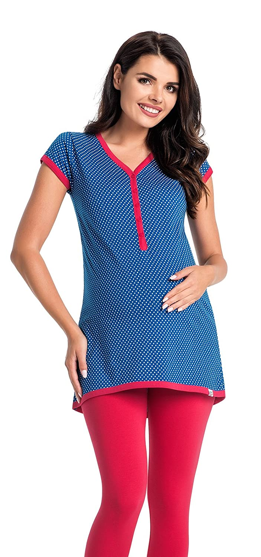 Di Vadini Ensemble de pyjama de grossesse/d'allaitement Elena 100% en coton, à manches courtes Di Vadini Pyjama ELENA