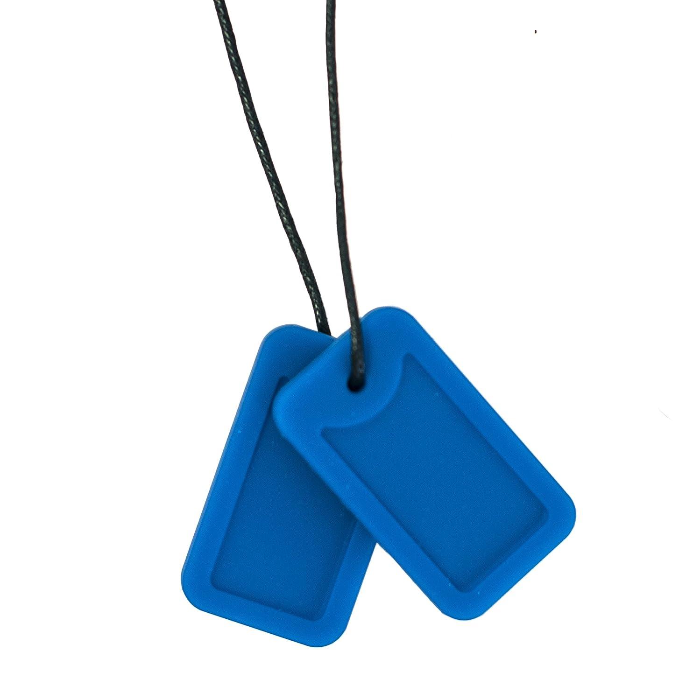 Juguete para morder para autistas Collar sensorial con forma de placas de identificaci/ón Chewigem