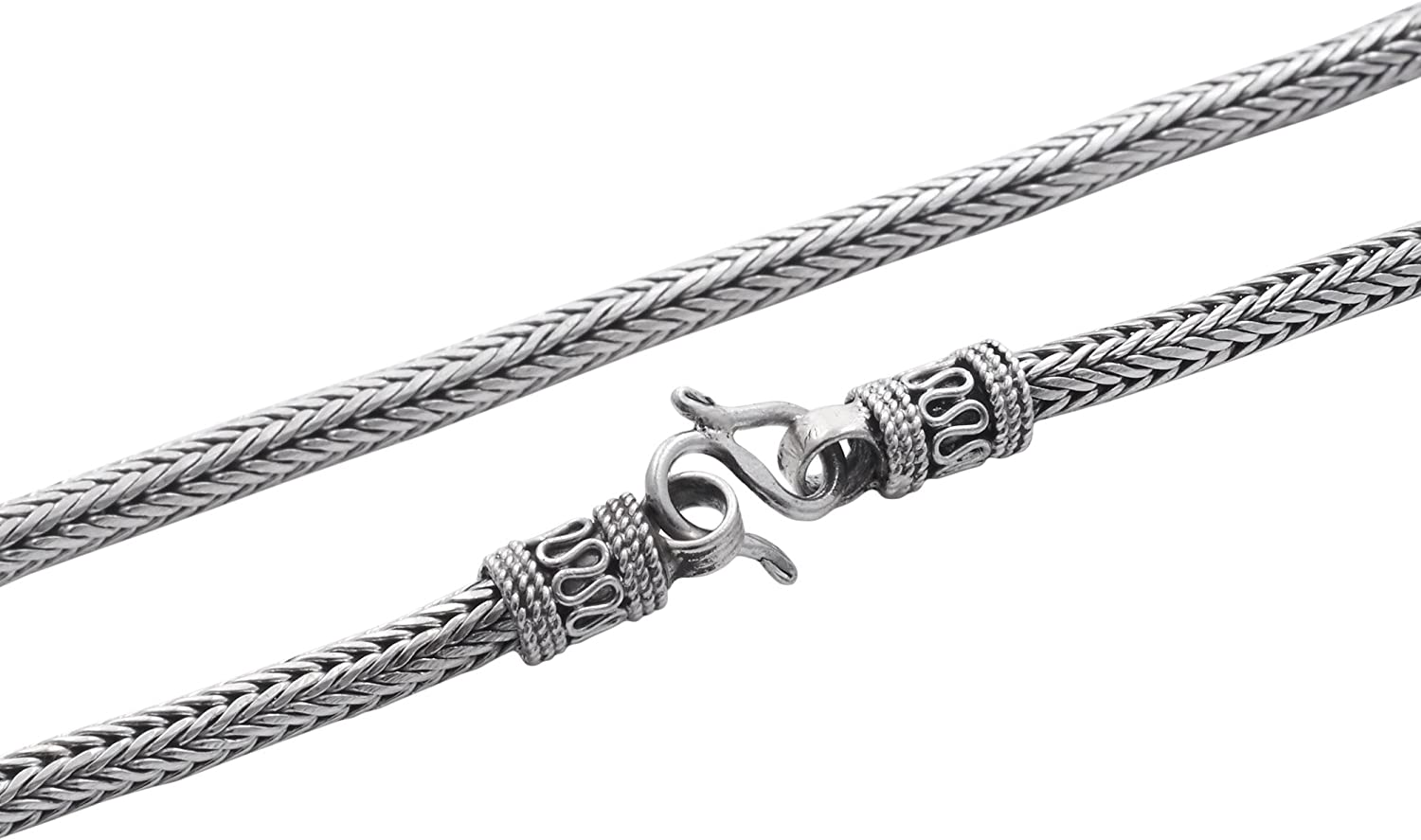 2.5 MM MADE IN ITALY 18K WHITE GOLD CHAIN NECKLACE BRAID ROPE LINK 17.72 INCHES
