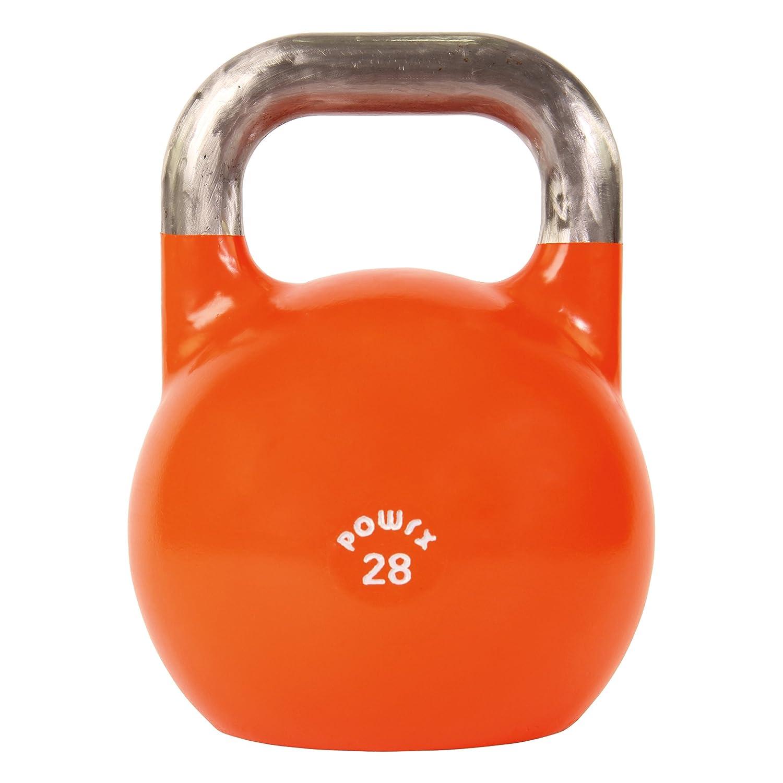 POWRX Pesa Rusa Profesional 4 kg, 6 kg, 8 kg, 12 kg, 16 kg, 20 kg, 24 kg, 28 kg - Kettlebell de competición (28 kg Orange): Amazon.es: Deportes y aire libre