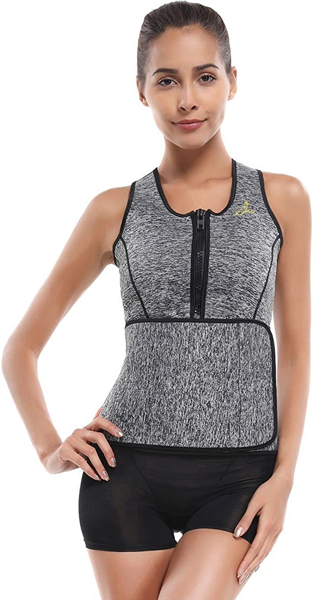 Joyshaper Workout Waist Trainer Corset for Women Weight Loss Neoprene Sauna Suit Tank Top with Adjustable Waist Trimmer Belt Grey