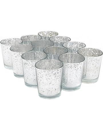 Maison & White Juego de 12 candelabros de cristal de té de vidrio moteado de plata