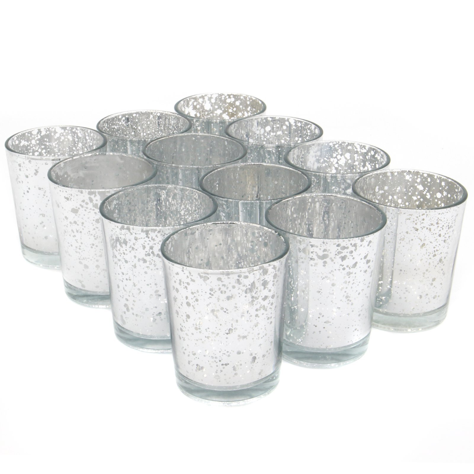 Set of 12 Speckled Tea Light Holders | Stylish Glass Candle Holders | Table & Home Decoration | Modern Home Accessories | M&W (Silver)