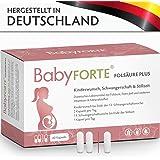 BabyFORTE FolsäurePlus Vitamine • 60 Kapseln • 400/800 mcg Folsäure • Für Kinderwunsch, Schwangerschaft & Stillzeit • Folsäure, Eisen, Jod • Vegan