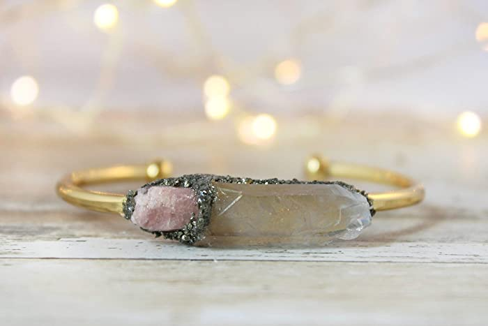 e674751392a491 Image Unavailable. Image not available for. Color: Boho Raw Crystal Gemstones  Pink Tourmaline and Angel Aura Quartz Cuff Bracelet Jewelry