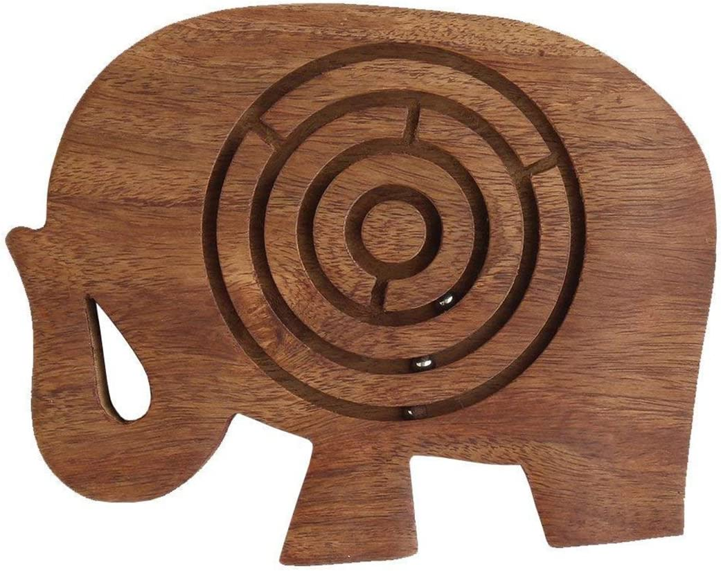 storeindya Wooden Labyrinth Maze Puzzle Indoor Game Travel Toys for Children Easy to Learn and Play with 3 Metal Balls Made of Rosewood Thanksgiving Return Gifts (Elephant)