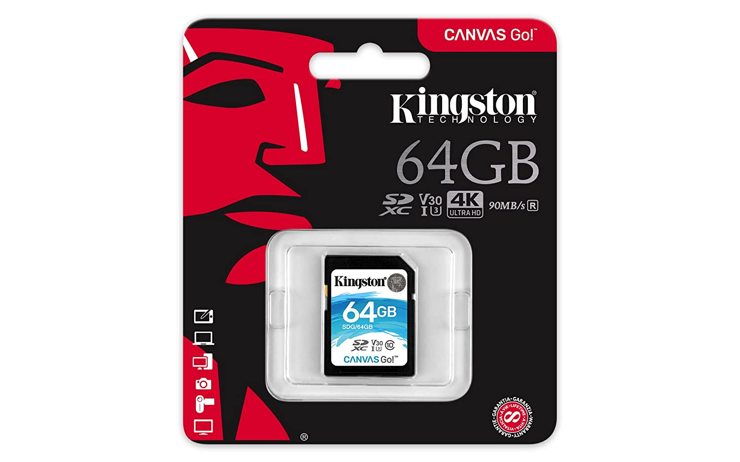 Kingston Canvas Go! 64GB SDXC Class 10 SD Memory Card UHS-I 90MB/s R Flash Memory Card (SDG/64GB)
