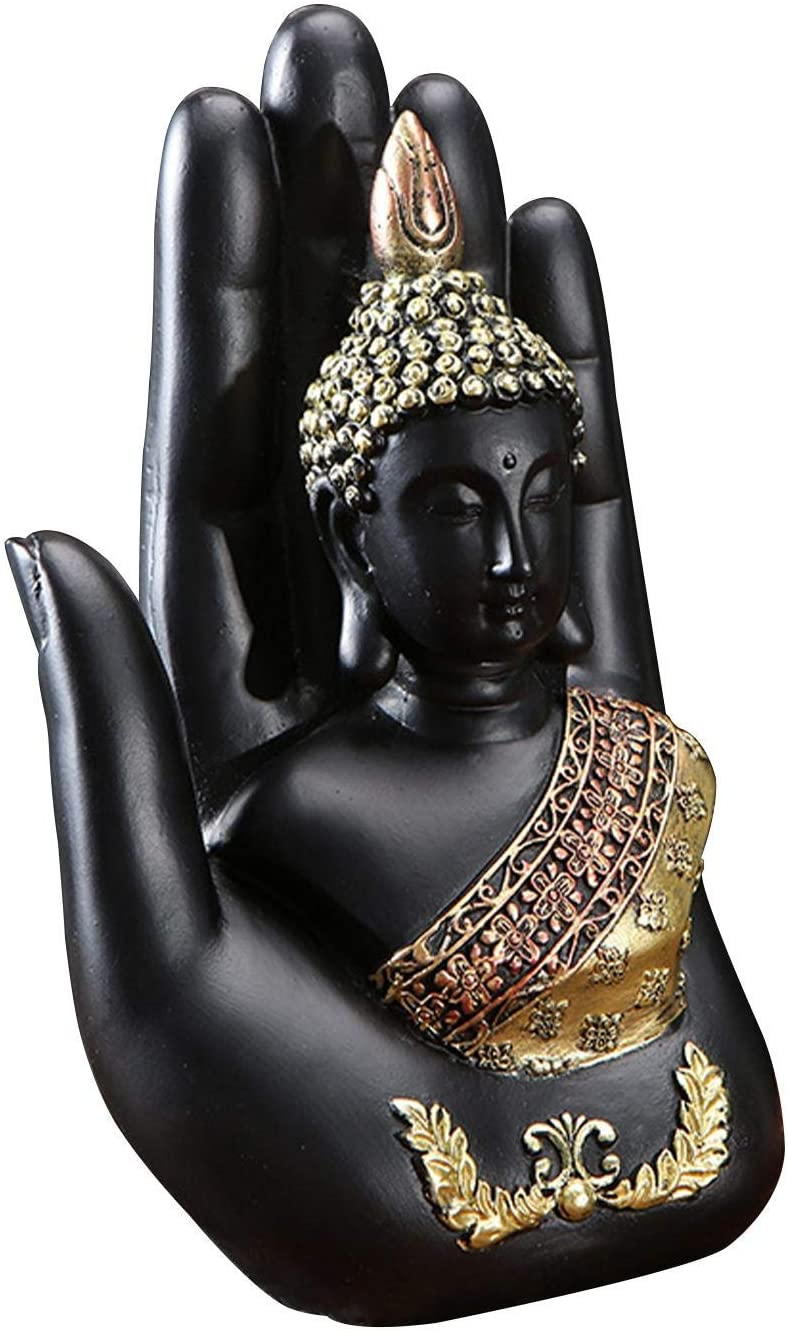 Resin Palm Buddha Statue,Buddha Sitting in Hand Statue,Meditating Thai Buddha,Home Decoration Buddha Statue,Suitable for Hallway, Bedroom, Living Room and Other Places