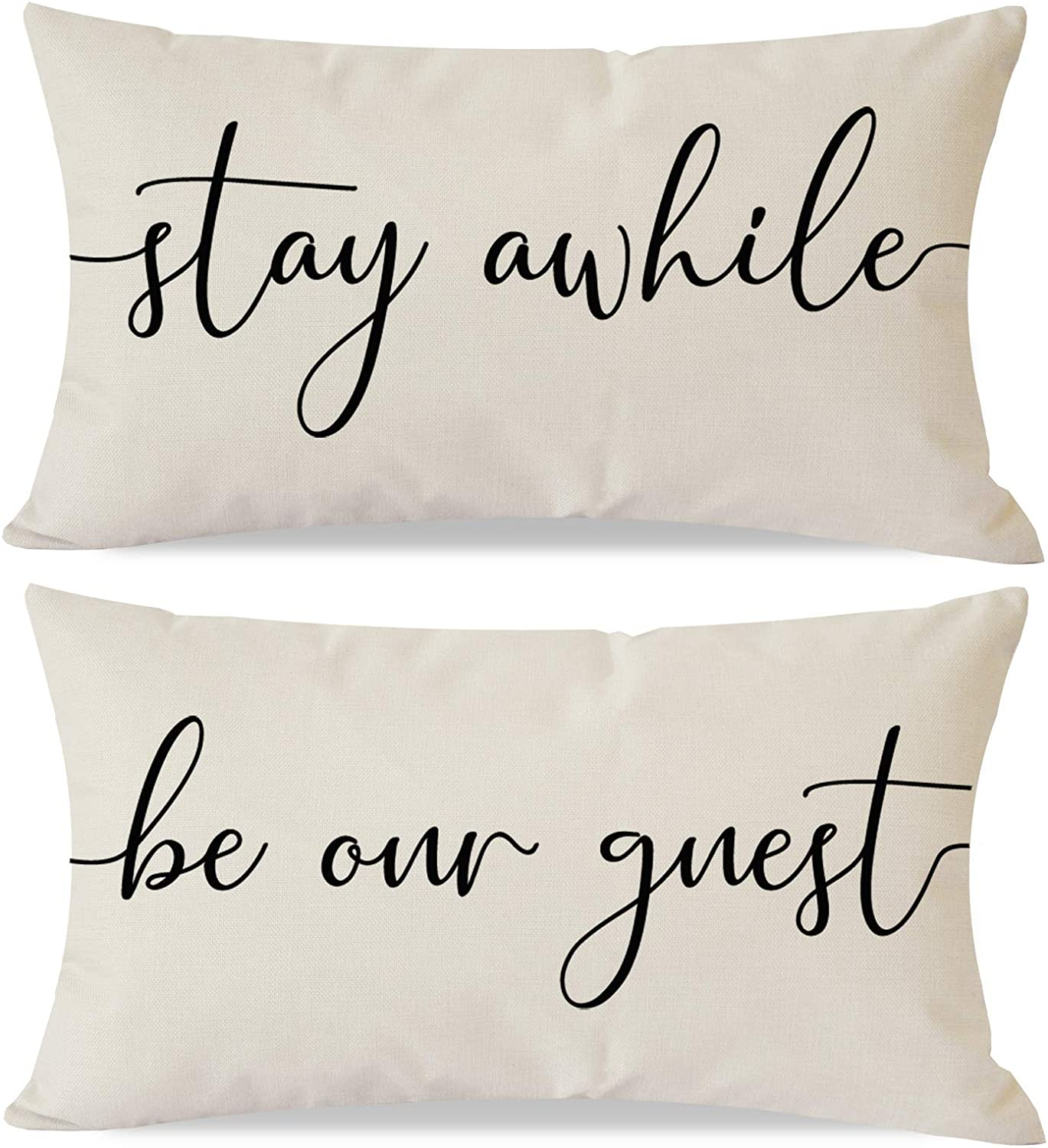 PANDICORN Set of 2 Farmhouse Pillow Covers 12x20 with Words Stay Awhile Be Our Guest for Home Décor, Lumbar Throw Pillow Cases for Guest Room Outdoor Porch Chair