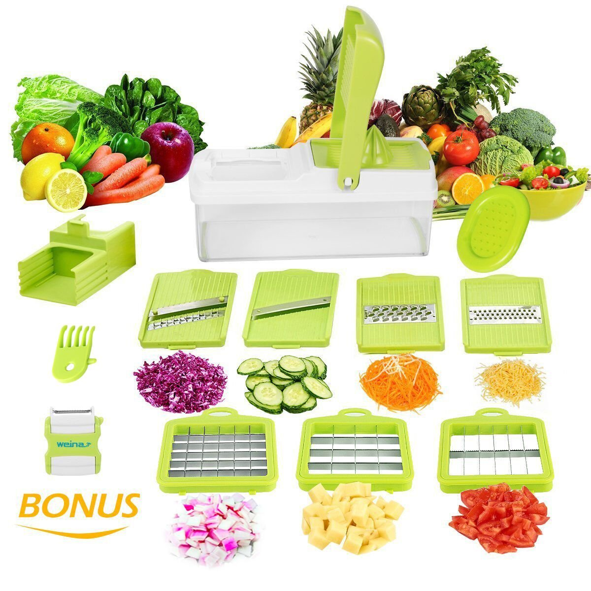 10 in 1 Verstellbarer Mandoline Gemüseschneider Kartoffelschneider, Zerteilen Gemüse Obst Schnell und gleichmäßig, Multischneider, Gemüsehobel, Gemüseschäler, Gemüsereibe und Julienneschneider in 1 von WEINAS (Mandoline Gemüseschneider) (Mandoline) Gemüse