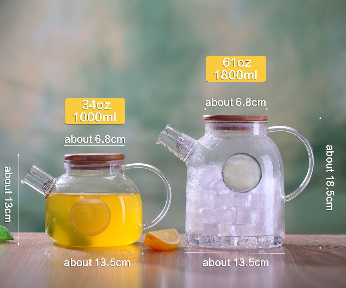 Cupwind Glass Pitcher with Wood Lid, Hot/Cold Water Carafe, Juice and Tea Beverage Jug 61 Ounces (1800ML-P) by Cupwind (Image #3)
