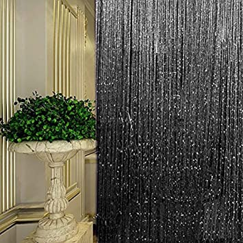 Rideau de porte, Argent décorative Rideau à Cordes 100 x 200 cm ...