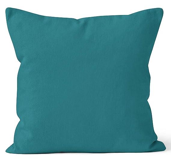 Encasa Homes Fundas de Cojines 2 Piezas (50x50 cm) - Azul - Lona de algodón teñida Forma sólida, Decorativa, Grande y Colorida, Lavable Funda Almohada ...