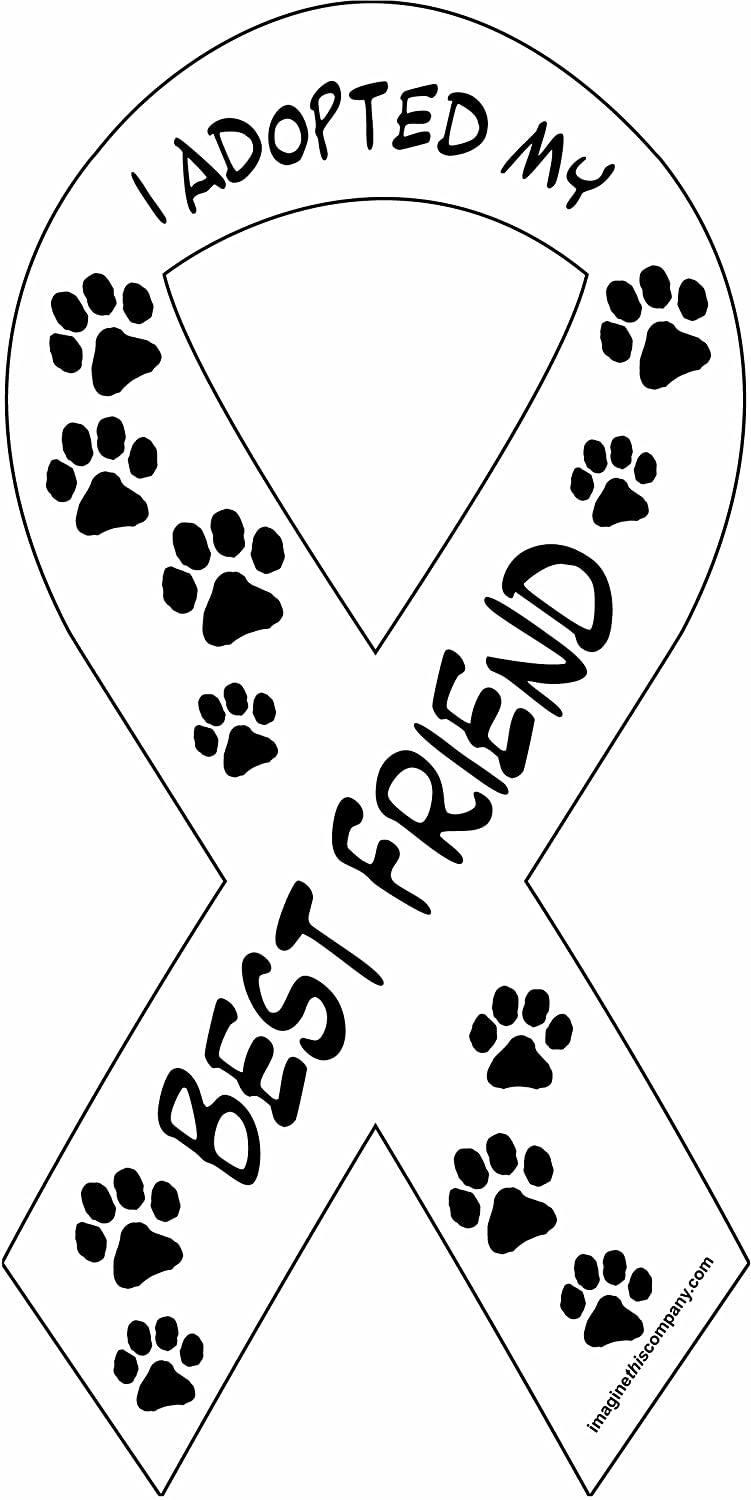Imagine This 8-Inch by 4-Inch Car Magnet Social Issues Ribbon, I Adopted My Best Friend