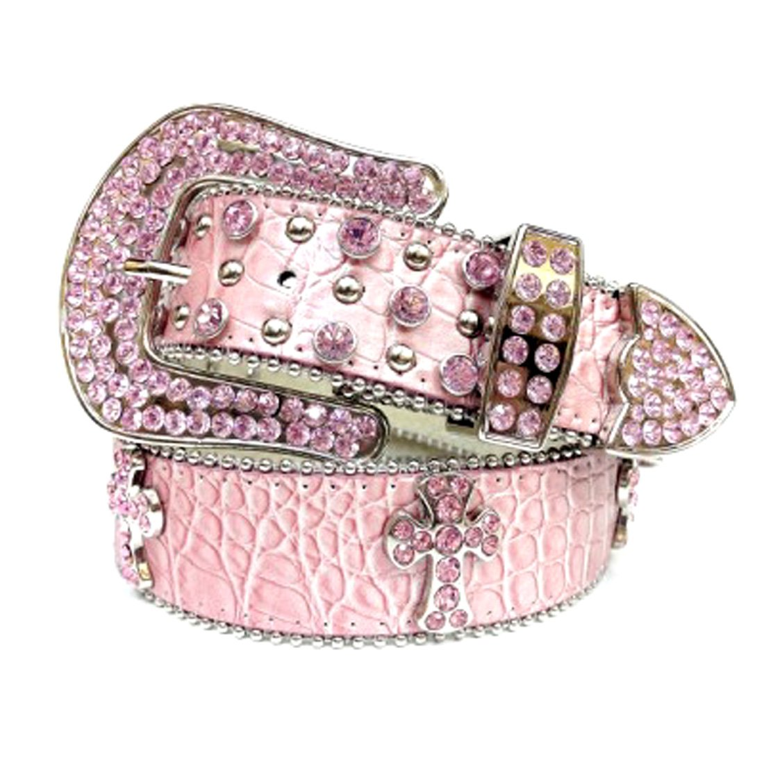 Pink Leather Belt in a Crocodile Pattern, Decorated in Pink Crystals on Silver Crosses, Size S/M