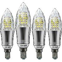Hzsane E14LED Bougie Ampoules 12W, 100W équivalent Ampoules à Incandescence, 6500K Blanc Froid, 1200LM, Culot à Vis Edison Ampoules, 4-pack