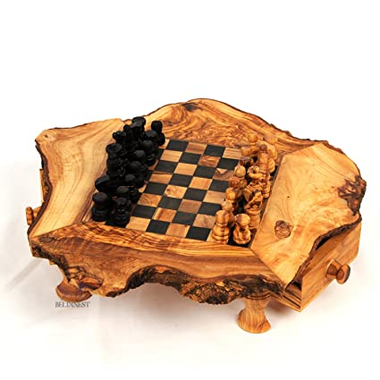 Olive Wood Rustic Chess Set, Handcrafted Chess Game Board S6x6