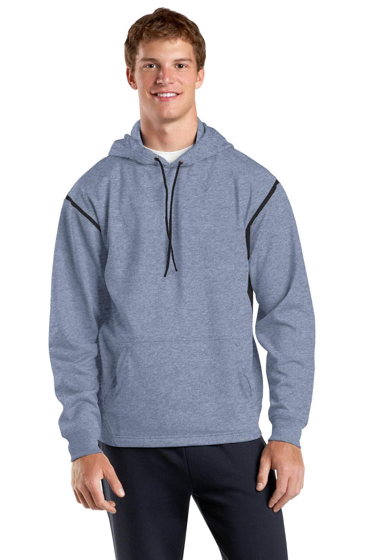 Sport-Tek Tall Tech Fleece Colorblock Hooded Sweatshirt 3XLT Grey Heather/Black by Sport-Tek
