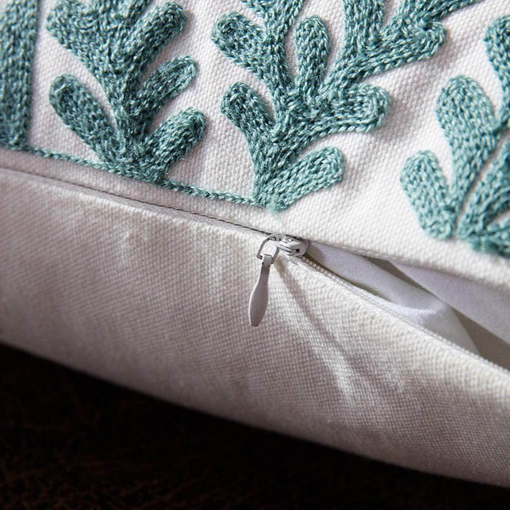 suoryisrty Funda de coj/ín Bordado Azul Funda de Almohada Decorativa Turquesa geom/étrica para la Sala de Estar Sof/á Asiento de Coche Suministros de decoraci/ón
