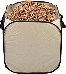 32 Gallon Heavy Duty Reusable Yard Waste Bag - Fiber Reinfoced PVC Cloth, Washable & Collapsible Lawn Garden Bag, Leaf Bag, Leaf Container, Garden Waste Bin