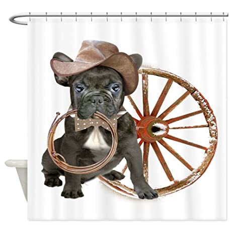 a4fe5cf0aca ... detailed pictures ce2e9 2ec94 CafePress - French Bulldog Rodeo Shower  Curtain - Decorative Fabric Shower Curtain ...