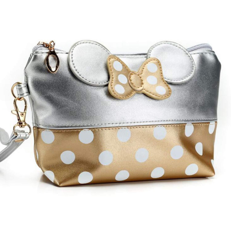 Travel Cosmetic Bag Cartoon Bow Women Zipper Hand Holding Make Up Handbag Organizer,3