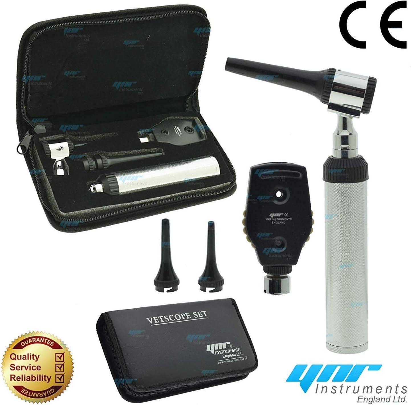Ynr England Vetscope LED Veterinario Otoscopio Oftalmoscopio Ent Set Veterinario Diagnóstico Veterinarios Profesional Calidad Superior Ce