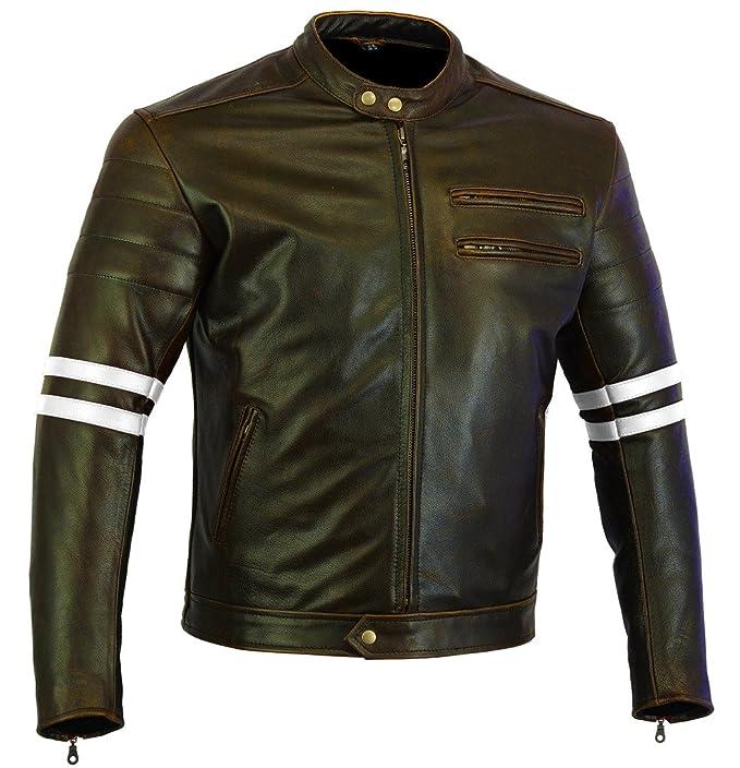 1 opinioni per Retro Brown Cafe Racer 100% pelle bovina giacca da moto rinforzati CE–bianco a