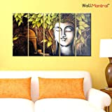 """WallMantra Peaceful Buddha Wall Painting / 5 Pieces Canvas Print Wall Hanging/Stretched and Framed on Wood / 44"""" W x 24"""" H/Home Decor for Living Room, Bedroom, Office Decoration"""