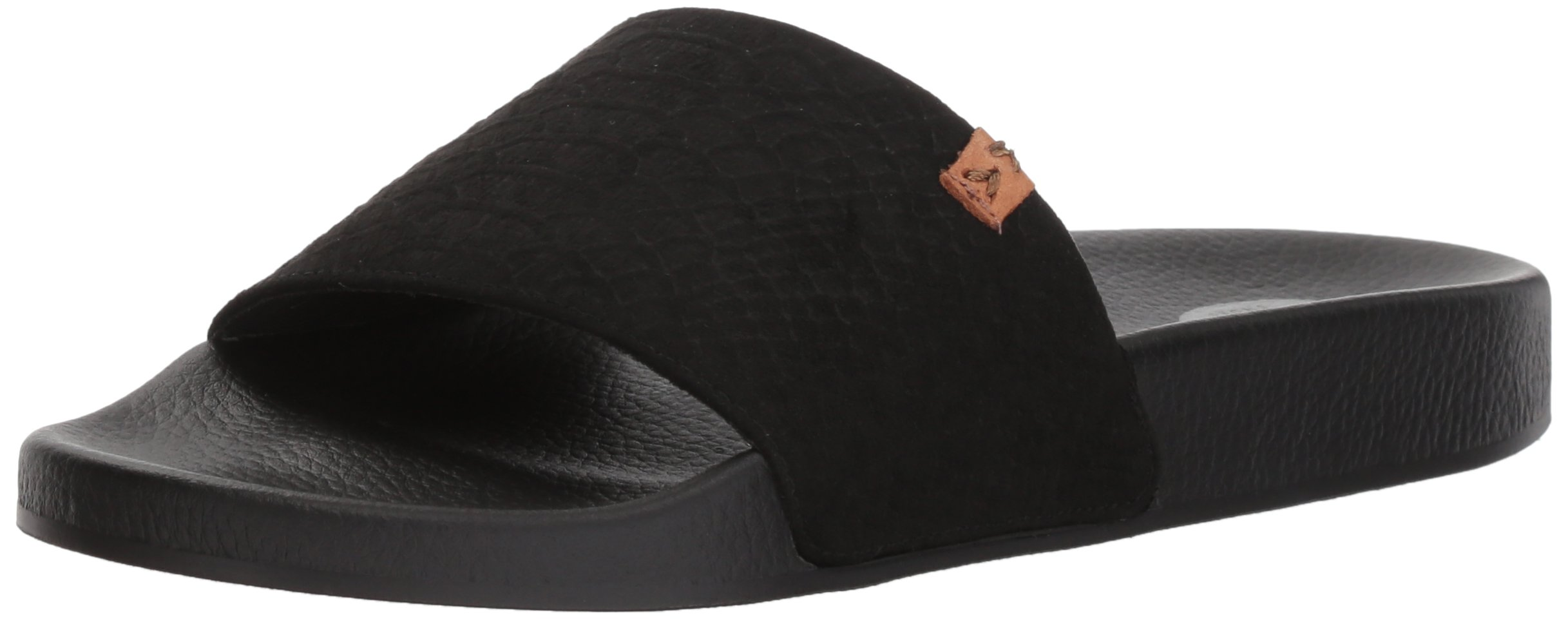 Dr. Scholl's Shoes Women's Palm Slide Sandal, Black Microfiber Snake Print, 8 M US