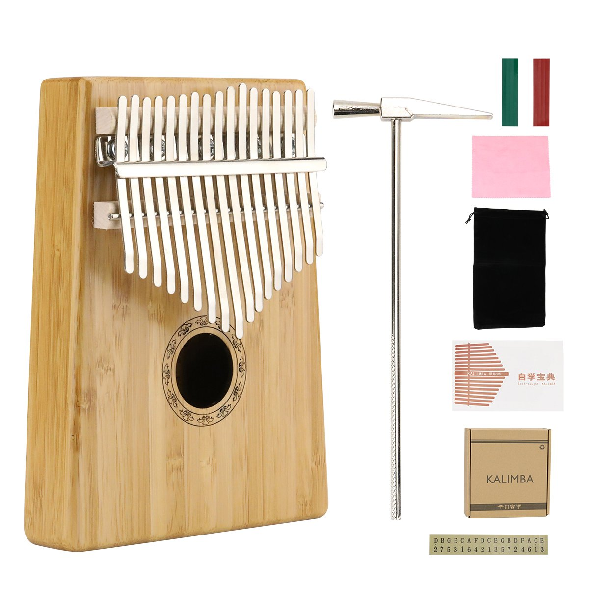 Medeer 17 Key Kalimba Thumb Piano Solid Finger Piano Mbira Sanza African Instrument with tune Hammer Study Instruction Carry Bag Musical Scale Stickers Clean Cloth