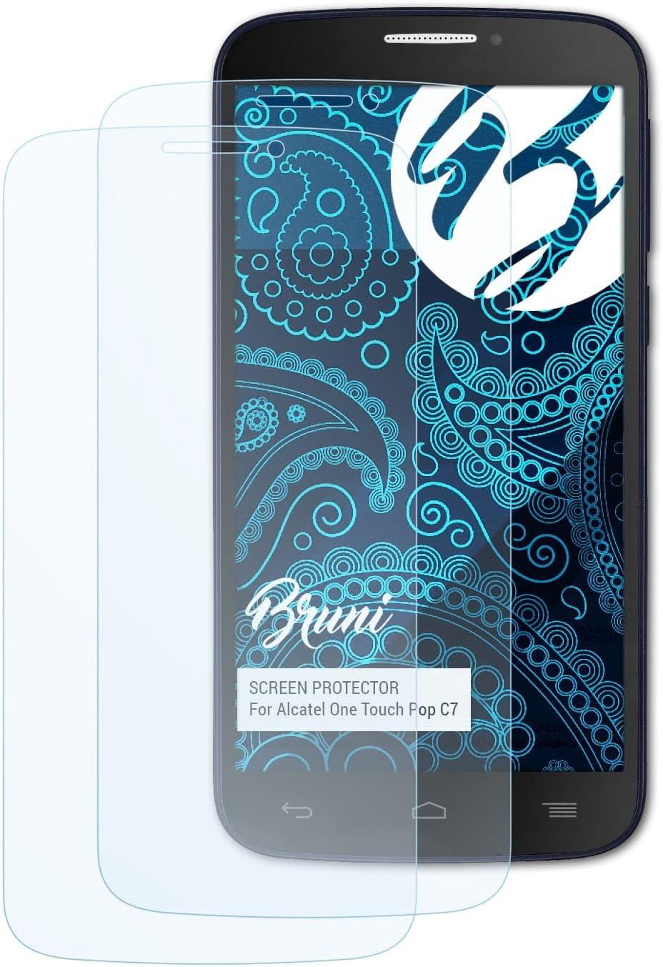 Bruni Película Protectora para Alcatel One Touch Pop C7 Protector Película, Claro Lámina Protectora (2X): Amazon.es: Electrónica