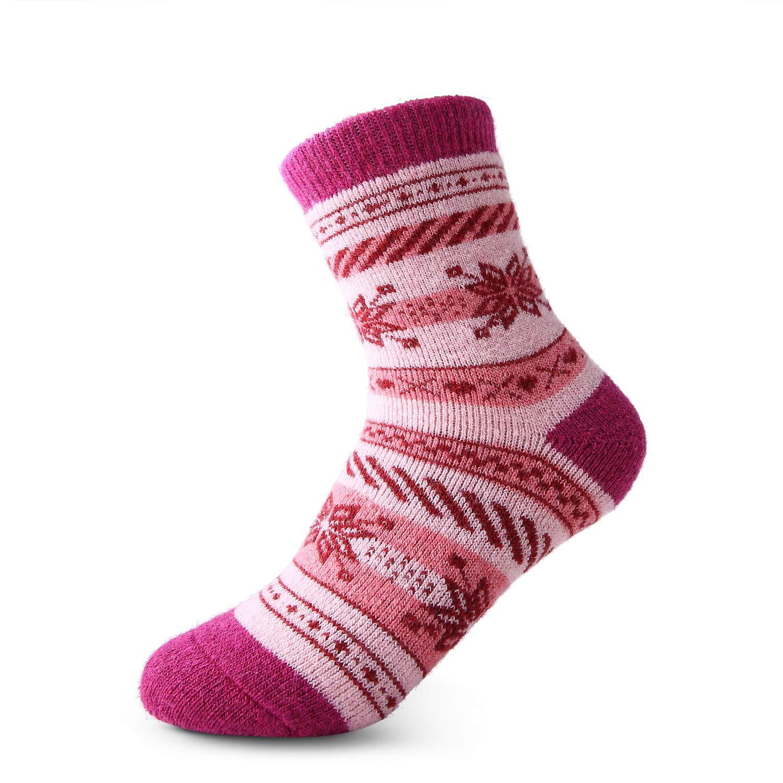 Seekay Childrens Winter Thick Warm Soft Cute Crew Wool Socks For Kids Boys Girls 8 Pairs
