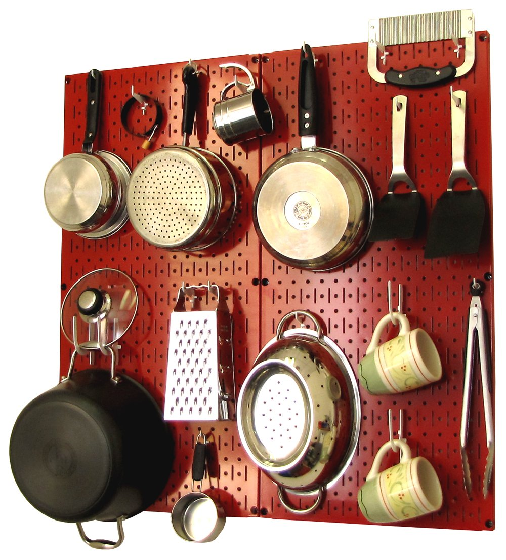 Wall Control 30-KTH-200 RW Kitchen Pegboard Organizer Pots and Pans Pegboard Pack Storage and Organization Kit with Red Pegboard and White Accessories