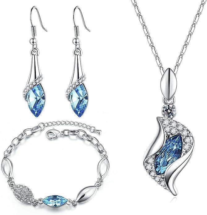 MONDAYNOON Juegos de Joyas Conjuntos Joyeria Mujer Collar Pulsera Pendientes Austríaco Regalo Cristales (mar Azul)