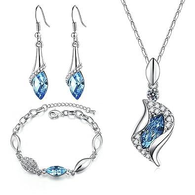 3a5d87f5d798 MONDAYNOON Juegos de Joyas Conjuntos Joyeria Mujer Collar Pulsera  Pendientes Austríaco Regalo Cristales (mar Azul