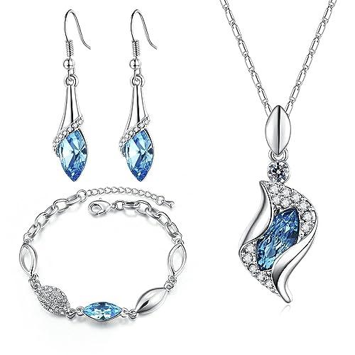 d9fc0d9781d1 MONDAYNOON Conjunto de Joyas Mujer Collar Colgante Pulsera Pendientes  Cristales Mejor ♥ Regalo San Valentin ♥ para Novia y Mujer