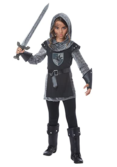California Costumes Medieval, Chainmail Noble Knight Girls Costume,  Black/Silver, Small