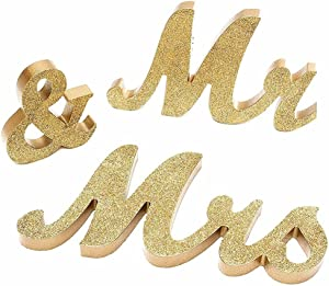 HAOLIVE Rustic Mr and Mrs Signs Wedding Sweetheart Table Decorations, Wooden Freestanding Letters Wedding Shower Gift(Glitter Golden)