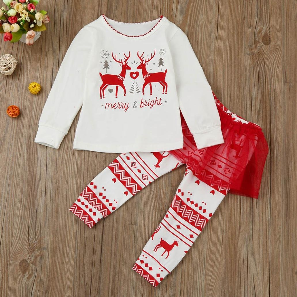 FAPIZI Xmas Kids Toddler Baby Girls Long Sleeve Letter Deers Tops Tutu Pants 2Pcs Set Outfits Clothes