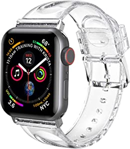 iiteeology Compatible with Apple Watch Band 38mm 40mm, Women Glitter Soft Silicone Sports iWatch Band Strap for Apple Watch Series 6/5/4/3/2/1/SE (38mm 40mm Clear/Silver)
