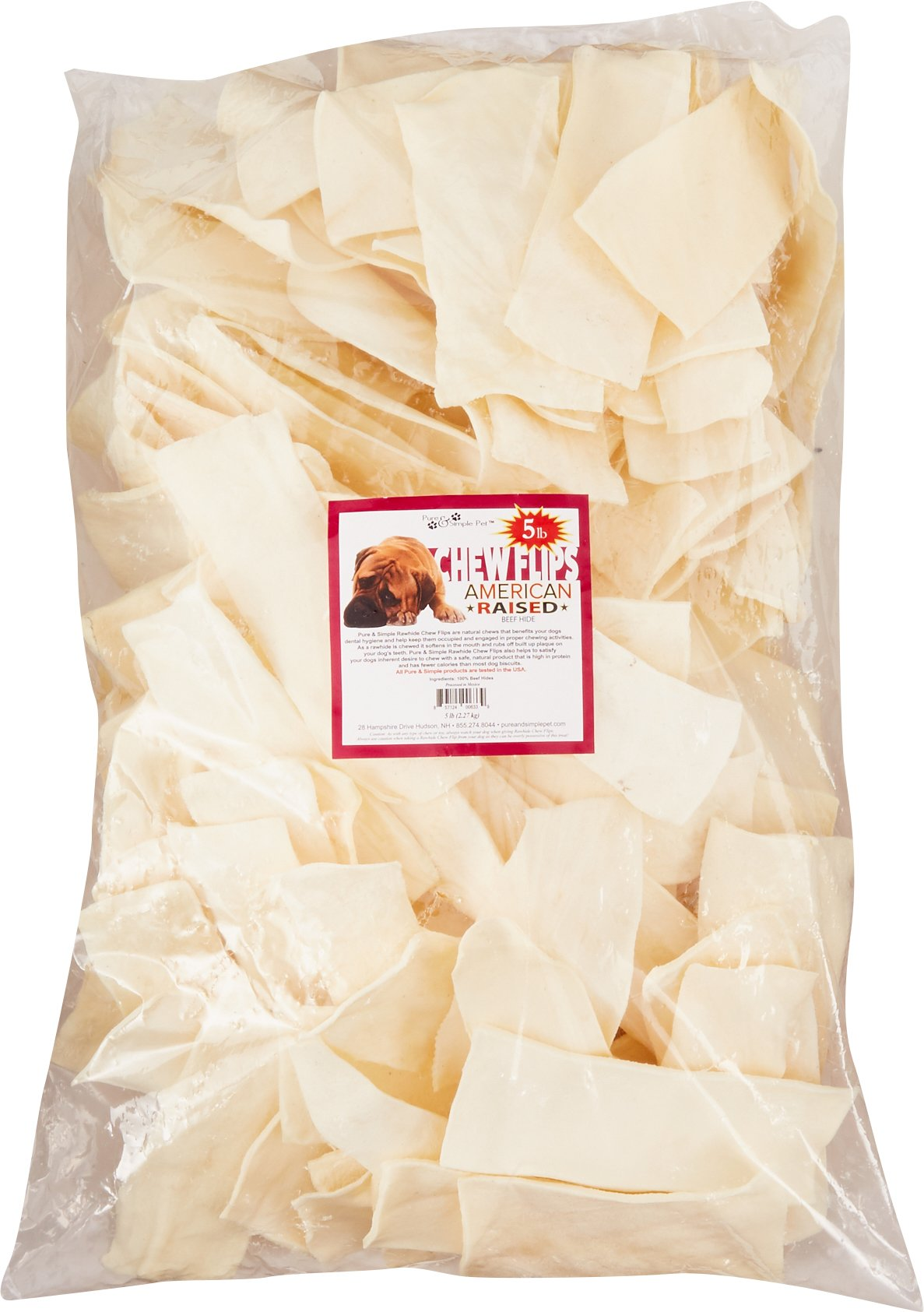Pure & Simple Pet 6339 Rawhide Chew Flips, 5 Lb by Pure & Simple Pet